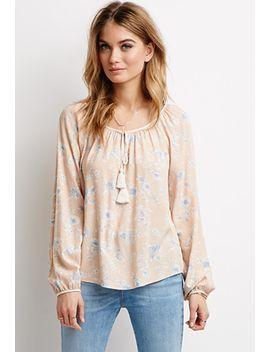 tasseled-neckline-floral-blouse by forever-21