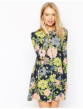 asos-swing-dress-in-retro-floral-print by asos-collection