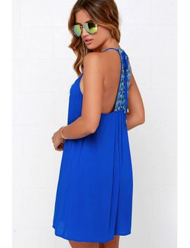 tiki-hut-embroidered-blue-dress by lulus