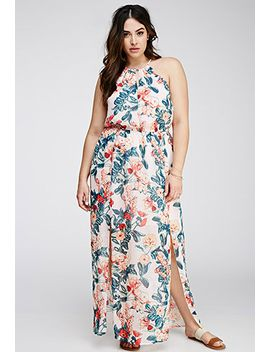 floral-chiffon-halter-dress by forever-21