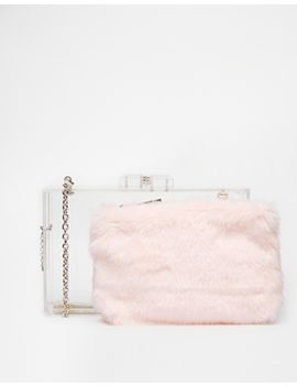 asos-faux-fur-insert-box-clutch-bag by asos-collection