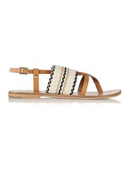 kenna-leather-and-woven-cotton-sandals by see-by-chloé