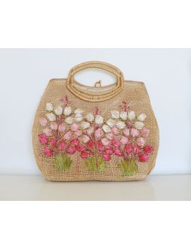 sale~vintage-floral-woven-bag-_-70s-woven-purse-_-flower-handbag by standardedition