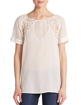 silk-lace-&-pintuck-detail-top by rebecca-taylor
