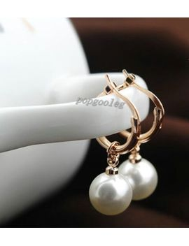 18k-rose-gold-gp-dangle-pearl-droplets-small-hoop-studs-earrings-women-free-ship by italina