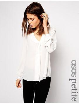 asos-petite-long-sleeve-deep-v-neck-blouse by asos-petite