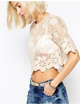 river-island-lace-cropped-t-shirt by river-island
