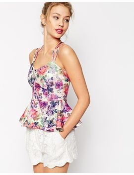 asos-peplum-top-with-strap-detail-in-floral-print by asos-collection