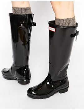 hunter-originals-black-gloss-wellington-boots by hunter