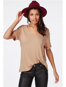 boyfriend-v-neck-t-shirt-nude by missguided