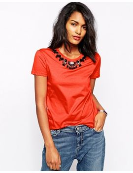 sportmax-code-t-shirt-with-embellished-neckline by sportmax-code