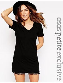asos-petite-t-shirt-dress-with-pom-pom-hem by asos-petite