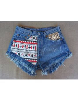 high-waisted-denim-shorts-levis-tribal-aztec-studded-frayed-grunge-hipster-tumblr-clothing-music-festival by jeansonly