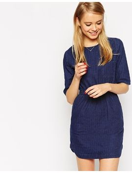 asos-waisted-denim-t-shirt-dress-in-textured-fabric by asos-collection
