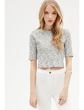marled-knit-zippered-crop-top by forever-21