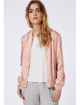 satin-bomber-jacket-pink by missguided