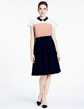 Colorblock Crepe Accordion Pleat Dress by Kate Spade New York