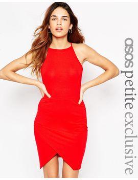 asos-petite-90s-asymmetric-body-conscious-dress-with-high-neck by asos-petite