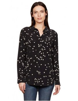 Slim Signature Star Print Silk Blouse by Equipment