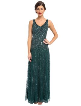 Beaded Mesh V Neck A Line Art Deco Gown by Adrianna Papell