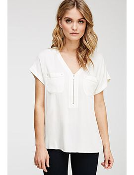 zippered-v-neck-top by forever-21