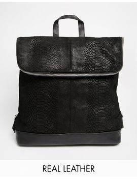asos-leather-embossed-backpack by asos-collection