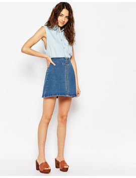 asos-denim-a-line-skirt-with-zip-front-in-midwash-blue by asos-collection