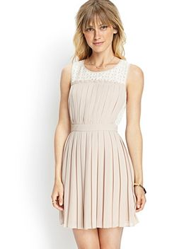 pleated-woven-&-lace-dress by forever-21