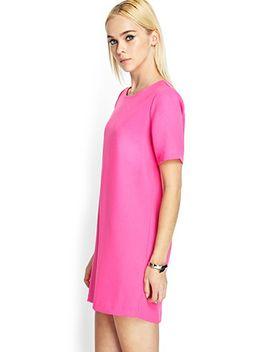 short-sleeved-woven-shift-dress by forever-21