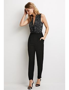 contrast-dotted-surplice-jumpsuit by forever-21