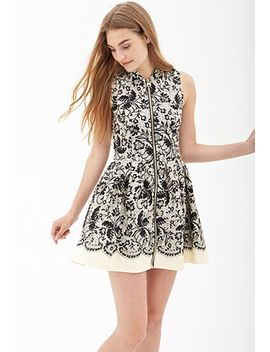 elegant-abstract-fit-&-flare-dress by forever-21