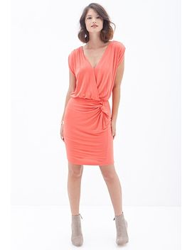 knotted-surplice-sheath-dress by forever-21