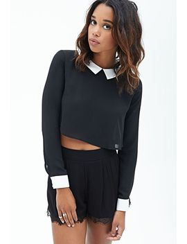 collared-woven-top by forever-21