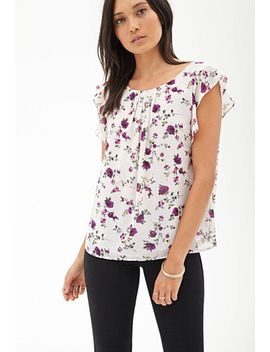 ruffled-floral-chiffon-blouse by forever-21