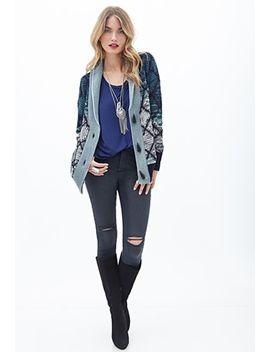 lattice-patterned-shawl-collar-cardigan by forever-21
