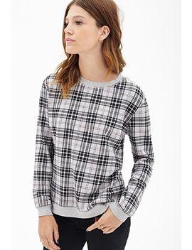 tartan-plaid-heathered-sweatshirt by forever-21