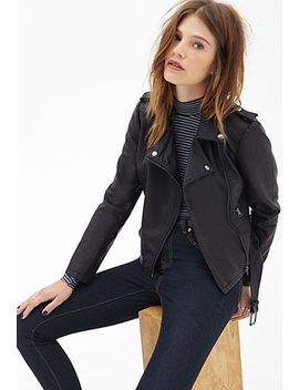 belted-faux-leather-moto-jacket by forever-21