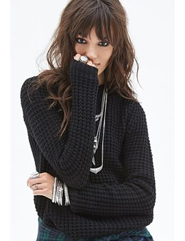 hooded-waffle-knit-sweater by forever-21