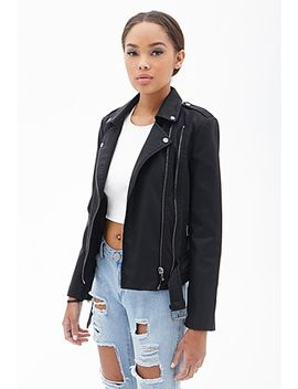 buckled-faux-leather-moto-jacket by forever-21