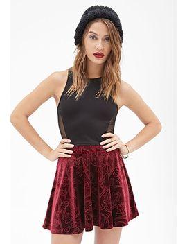 floral-patterned-velveteen-skirt by forever-21