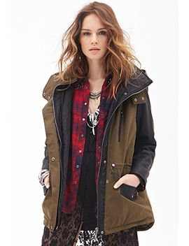 faux-leather-&-canvas-coat by forever-21