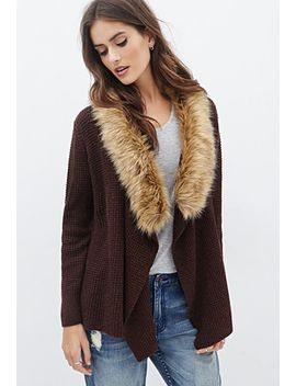 faux-fur-collar-waffle-knit-cardigan by forever-21