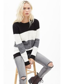striped-waffle-knit-sweater by forever-21