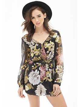 floral-print-surplice-romper by forever-21
