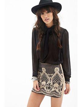 beaded-baroque-patterned-skirt by forever-21