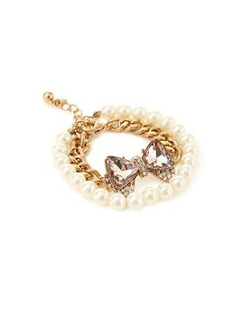 faux-pearl-bow-pendant-bracelet by forever-21