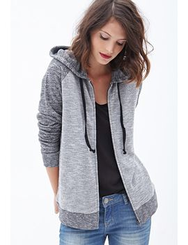 marled-knit-baseball-hoodie by forever-21