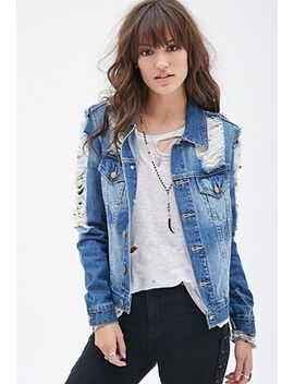 distressed-denim-jacket by forever-21