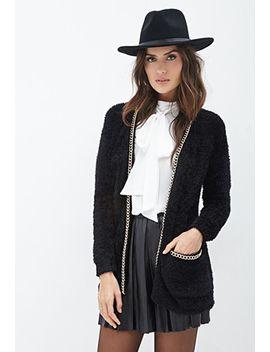 chain-trim-fuzzy-cardigan by forever-21
