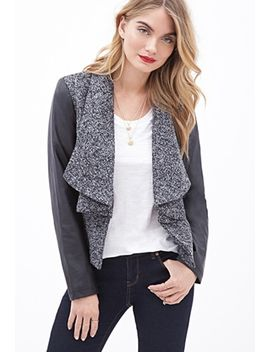 faux-leather-sleeve-marled-jacket by forever-21
